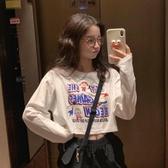 長袖T恤 夏季新款韓版寬鬆露臍短款上衣網紅白色學生女潮 - 歐美韓熱銷