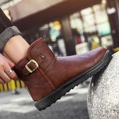 韓版皮面雪靴男冬季保暖加絨防水防滑短靴