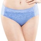 思薇爾-花霓系列M-XXL蕾絲中腰三角內褲(長春藍)