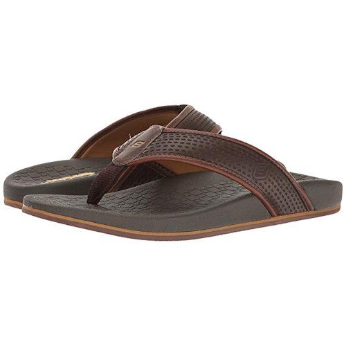 Skechers- 男Pelem棕色柔軟面料鞋面涼鞋