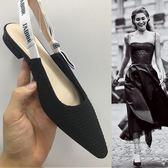 低跟涼鞋 夏季漆皮包頭淺口白色尖頭平底綁帶英文字母蝴蝶結女涼鞋【蘇迪蔓】