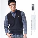 【大盤大】(V2-865) 深藍 男女 台灣製 防縮V領背心 純羊毛背心 保暖套頭 制服機關銀行【剩S-XL號】
