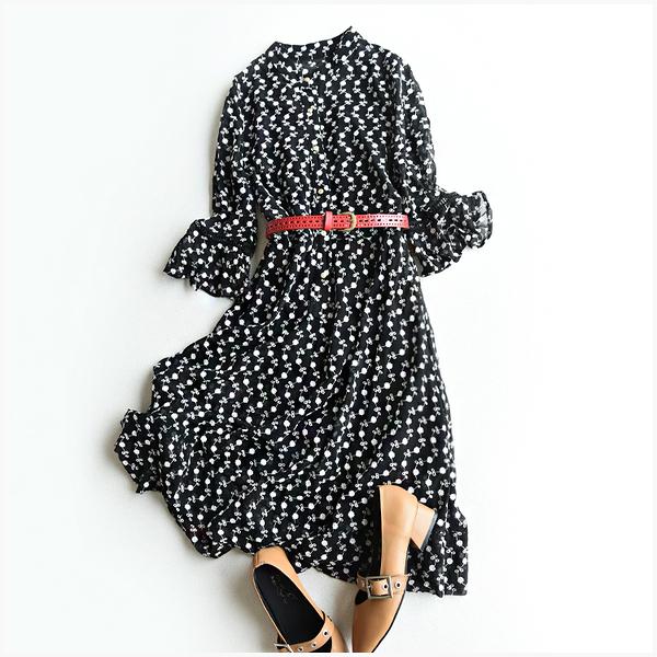 [超豐國際]W  鏤空線繡花 連衣裙 吊帶 兩件套(附腰帶)