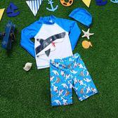 新款兒童泳衣中大男童男孩運動分體平角長袖防曬學生游泳衣 新知優品