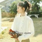 依米迦 木耳邊白色襯衫公主風秋季新款百搭荷葉袖上衣