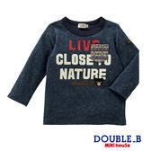 DOUBLE_B  日本製 黑熊字母口袋長袖T恤(藏藍)