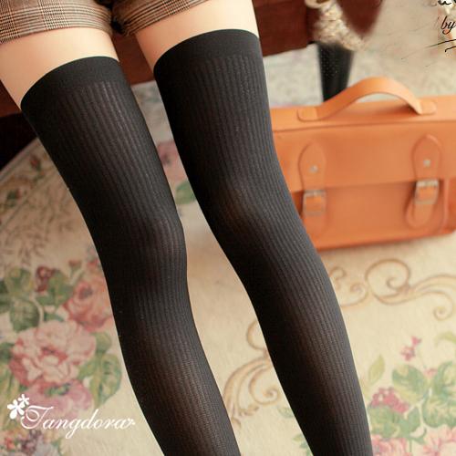 唐朵拉 熱銷日版韓系上平版下條紋修飾美腿超顯瘦透氣輕薄膝上假大腿高捷少女貼身褲襪 (216)