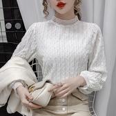 秋冬新款上衣女時尚套頭蕾絲打底衫長袖修身顯瘦百搭簡約氣質【快速出貨】