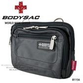 黑色過膠帆布機能性小側背包/腰包  AMINAH~【BODYSAC B1156】