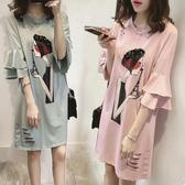 【藍色巴黎】韓國雙層荷葉袖剪破女人圖短袖洋裝《2色》【28920】