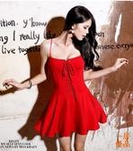 洋裝連身裙小禮服性感裹胸綁帶蓬蓬裙高腰顯瘦吊帶連身裙 優一居