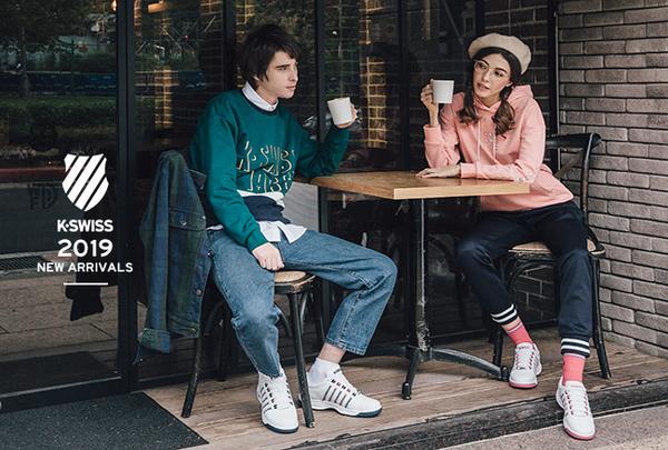 K-SWISS KS CI Logo Tee印花短袖T恤-女-藍