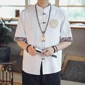 古風上衣 亞麻襯衫男短袖潮牌刺繡古風唐裝漢服大碼寬鬆中國風棉麻半袖寸衫