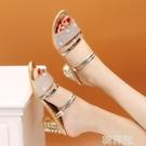 粗跟拖鞋 涼拖鞋女夏外穿韓版時尚中跟兩穿一字拖學生露趾粗跟女涼鞋子 星河光年
