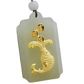 金鑲玉項鍊 和闐玉吊墜-富貴有餘生日情人節禮物男女飾品73gf47【時尚巴黎】