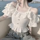 露肩上衣 超仙荷葉邊一字領襯衫女2021夏季新款修身顯瘦設計感短款吊帶上衣 開春特惠