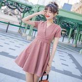 2018新款哺乳衣氣質淑女韓版喂奶連衣裙外出時尚夏季短袖薄辣媽款