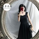 限時85折下殺無袖連衣裙新款秋季復古無袖吊帶顯瘦高腰氣質優雅連衣裙中長款小黑裙女