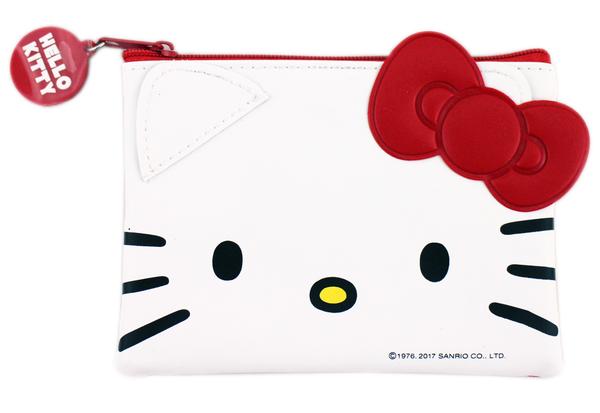 【卡漫城】 Hello Kitty 大臉 票卡 零錢包 ㊣版 仿皮 收納包 小物 悠遊卡 卡套 拉鍊式 證件包 卡夾