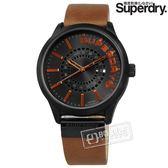 Superdry 極度乾燥 / SYG233TB / 雅痞風格 百搭潮流 日本機芯 真皮手錶 深灰x黑框x紅褐 45mm