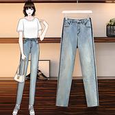 大碼牛仔長褲 高腰牛仔褲女新款大碼胖mm彈力褲子時尚寬松顯瘦直筒蘿卜褲 3F132 胖丫