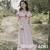 甜美少女穿搭桔梗裙夏學生森系中長櫻桃碎花洋裝仙氣超仙中長款 青木鋪子