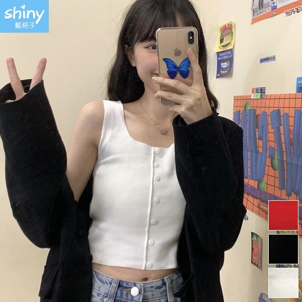 【V3327】shiny藍格子-甜漾春天.方領排釦短版無袖針織背心