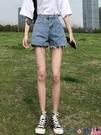 熱賣牛仔短褲 煙灰色牛仔短褲女網紅高腰2021年夏季外穿新款a字寬鬆闊腿熱褲子 coco