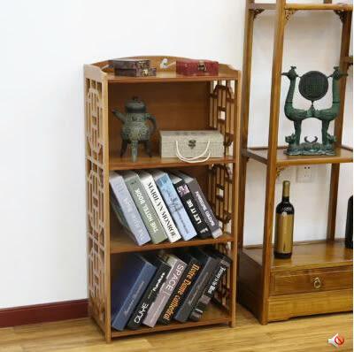 百山九川南竹仿古書櫃 簡易書架 簡約現代自由組合置物架實木櫃子 雕花格三層42cm