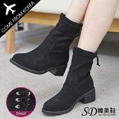 短靴 韓國空運 版型偏小  質感絨面 後跟造型綁帶 5cm 粗跟短靴【F712970】單色 SD韓美鞋
