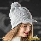 針織毛線帽子-女款防寒針織翻邊運動保暖毛...