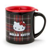 Sanrio HELLO KITTY蘇格蘭黑格紋系列不鏽鋼馬克杯附蓋★funbox★_063487