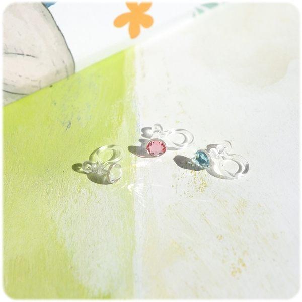 耳環 奧地利水晶 4.8mm 透明耳針/耳夾 (單只價) i917ღ