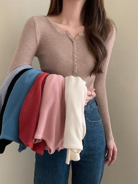 針織開衫 秋裝開衫外套女針織韓版修身V領紐扣顯瘦上衣內搭打底衫