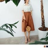 《CA2039》高含棉斜大口袋鬆緊腰中長裙 OrangeBear