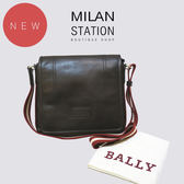 【台中米蘭站】全新品 BALLY 牛皮紅白織帶背帶掀蓋斜背包(咖)