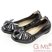 G.Ms. MIT系列-牛皮條紋蝴蝶結方頭娃娃鞋-黑色