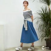 CANTWO JEANS腰綁袖假兩件丹寧A字裙-牛仔藍