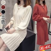 交叉金釦百摺針織洋裝 (3色) XL~4XL【699829W】【現+預】☆流行前線☆