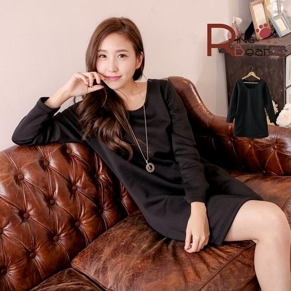 長版上衣--舒適保暖素面刷毛長袖圓領長上衣/洋裝(黑M-XL)-A185眼圈熊中大尺碼