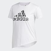 Adidas Badge of Sport 女款白色側綁帶短袖上衣-NO.FL8508