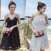 洋裝 海邊度假沙灘裙夏直播衣服女主播上鏡超仙性感夜店吊帶連身裙
