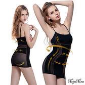 【性感寶盒】★雙弧推塑․加強纖腰長版細肩塑身衣M-XXL(黑)★┌NA14080015