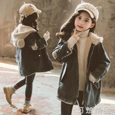 女童冬季中長款牛仔外套新款兒童洋氣冬裝中大童加絨加厚風衣 可然精品