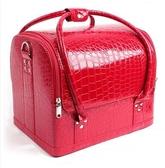 新款化妝箱手提專業 紋繡箱 化妝 包 手包式化妝箱大容量多層【紅色】