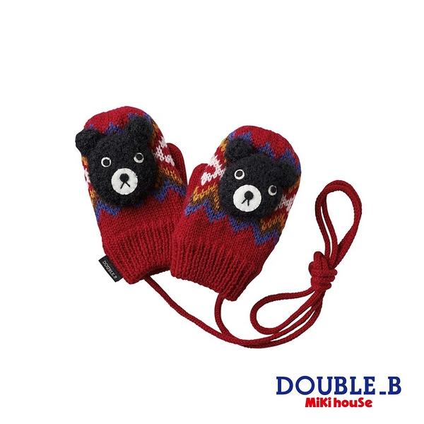 DOUBLE_B 黑熊北歐格紋保暖手套(紅)