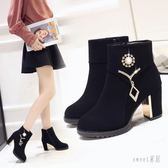 高跟短靴 黑色新款短靴粗跟韓版英倫風冬季棉鞋馬丁靴百搭女 df10654【Sweet家居】
