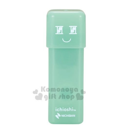 〔小禮堂〕日本NICHIBAN 印章式雙面膠帶《粉綠.透明.長條狀》 4987167-08996