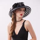 禮帽 夏季新款卷邊遮陽帽子水晶布條花朵網紗帽女士名媛晚宴禮帽沙灘帽