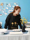 廚房圍裙長袖防水防油韓版時尚罩衣成人女男士家用工作服logo